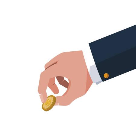 businessman hand with coins money vector illustration design