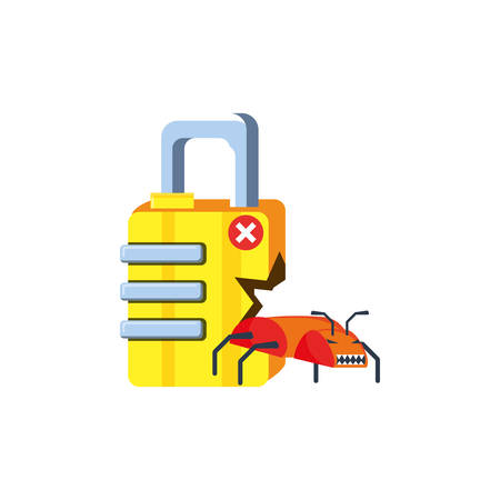 safe secure padlock with virus attack vector illustration design