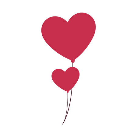 balloons helium with heart shape vector illustration design