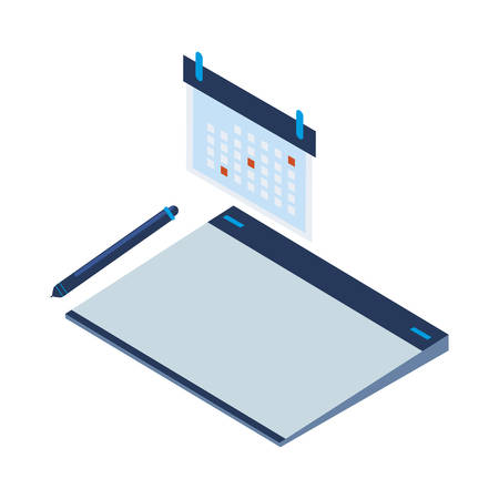 graphic design board and calendar vector illustration design