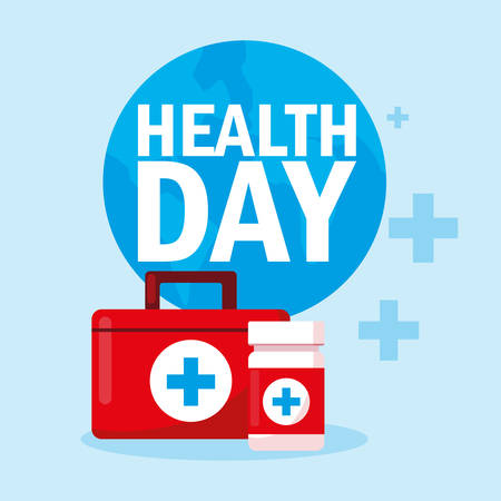 world health day card with first aid kit vector illustration design