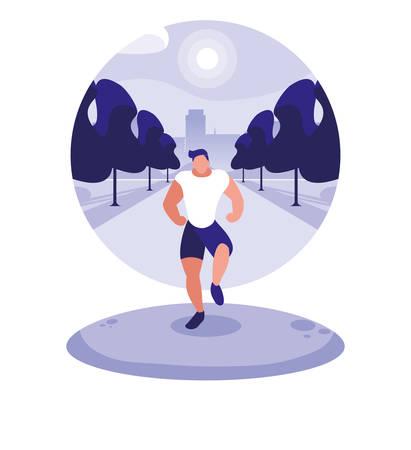 young man running outdoor vector illustration design 矢量图像