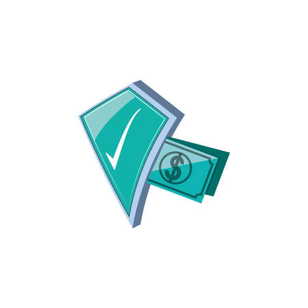 shield secure with bills dollar vector illustration design