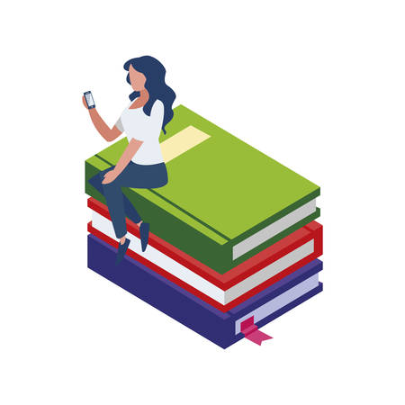 text book with smartphone and minipeople vector illustration design
