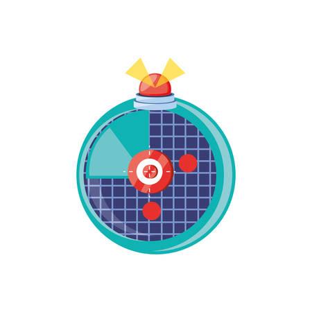 radar location with alarm light vector illustration design