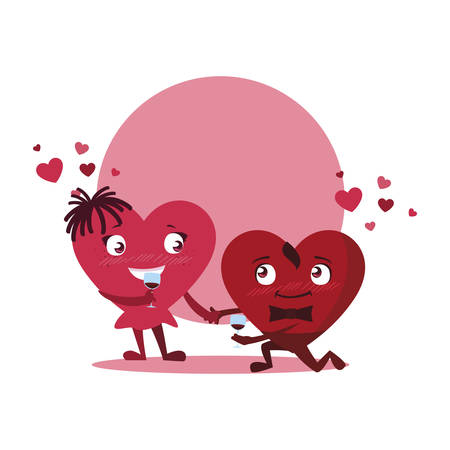 couple hearts with wine cup kawaii characters vector illustration design