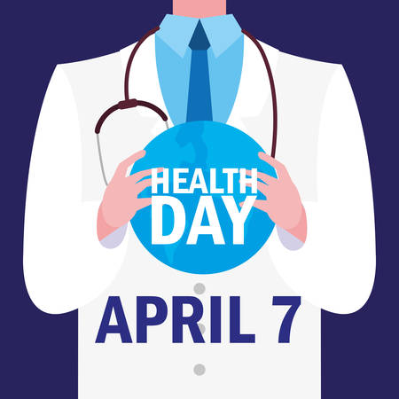 world health day card with doctor vector illustration design