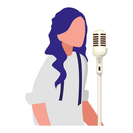 female singer with microphone character vector illustration design