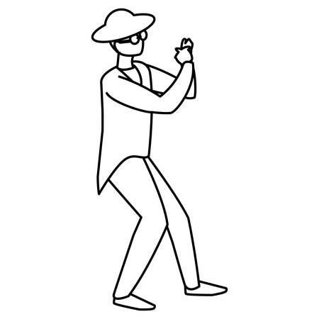black musician jazz with hat and sunglasses vector illustration design Ilustração
