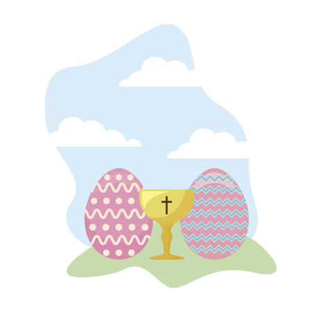 chalice sacred with eggs of easter vector illustration design