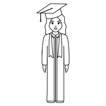 young student graduated girl character vector illustration design  イラスト・ベクター素材