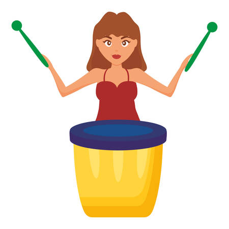 woman playing carnival bongo instrument vector illustration design Ilustrace