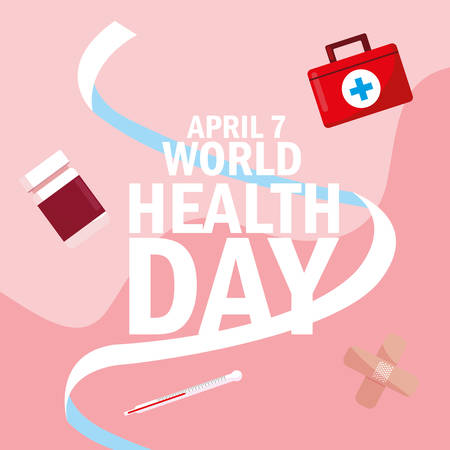 world health day card with bottle medicines and icons vector illustration design