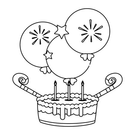 sweet cake birthday with balloons helium vector illustration design Çizim