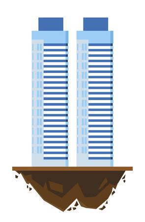 urban buildings in terrain ground vector illustration design Illustration