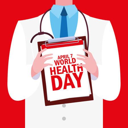 world health day card with doctor vector illustration design Illustration