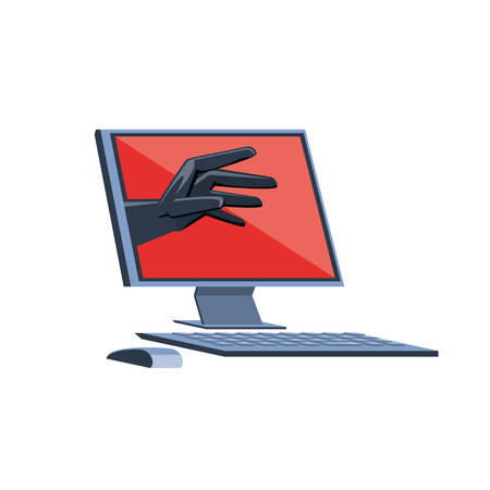desktop computer with virus attack vector illustration design