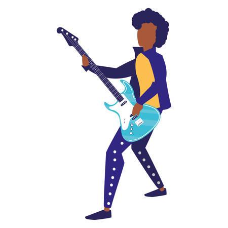 Rocker Mann spielt Gitarre elektrische Charakter Vector Illustration Design