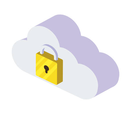 cloud computing with padlock vector illustration design