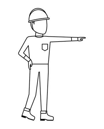 worker construction man with helmet security vector illustration design Vector Illustratie
