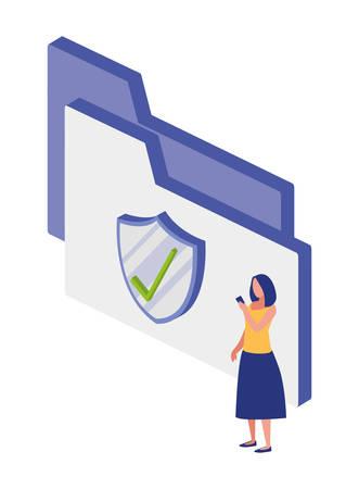 folder documents with shield vector illustration design
