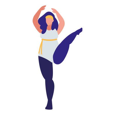 Robust woman dancing ballet character vector illustration design 向量圖像