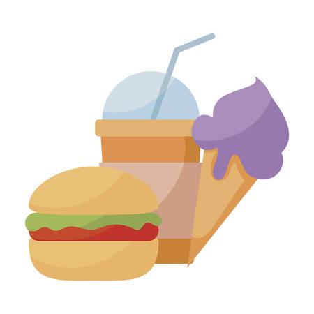 hamburger with ice cream and milkshake vector illustration design