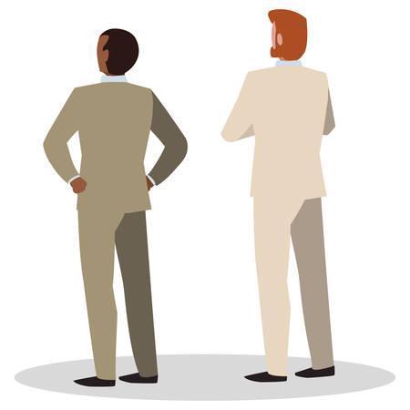 elegant businessmen with back possition characters vector illustration design