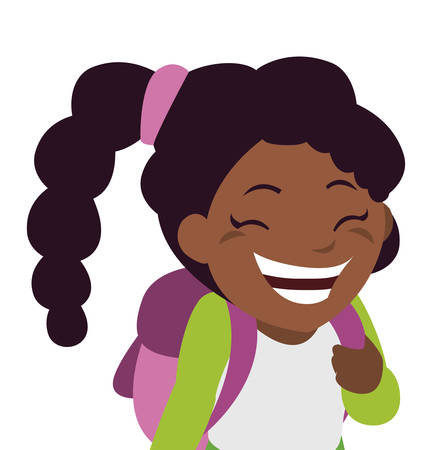 happy little black schoolgirl with schoolbag character vector illustration design