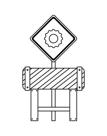 barricade and signaling with gears vector illustration design
