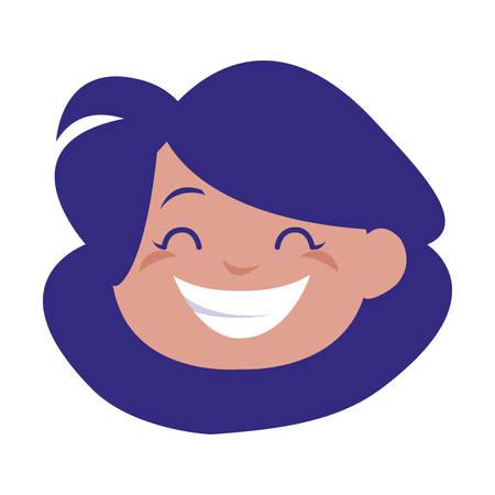 happy little girl head character vector illustration design Illusztráció