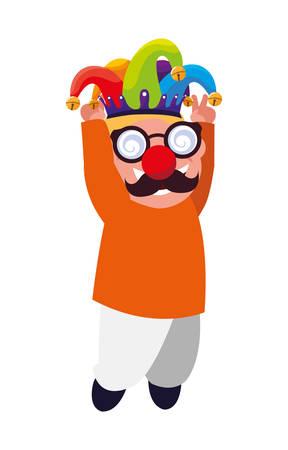 happy little boy with mask crazy vector illustration design