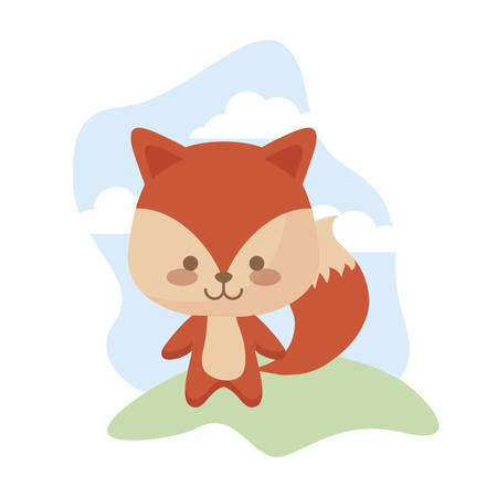 cute fox animal in landscape vector illustration design