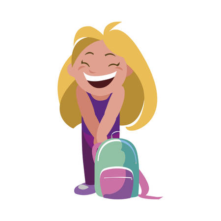 happy little schoolgirl with schoolbag character vector illustration design