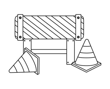 barricade with cones of signaling vector illustration design