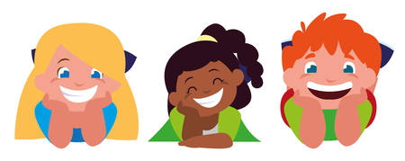 happy little interracial kids characters vector illustration design