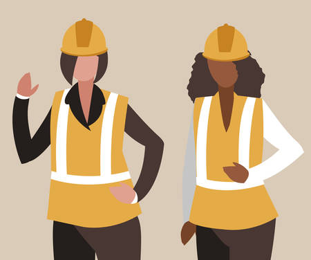 female industrial workers characters vector illustration design