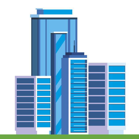 urban buildings in camp field vector illustration design
