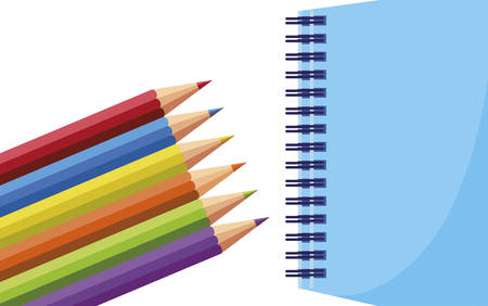 school notebook with colors pencils vector illustration design
