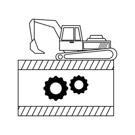under construction excavator vehicle with signaling vector illustration design Ilustração