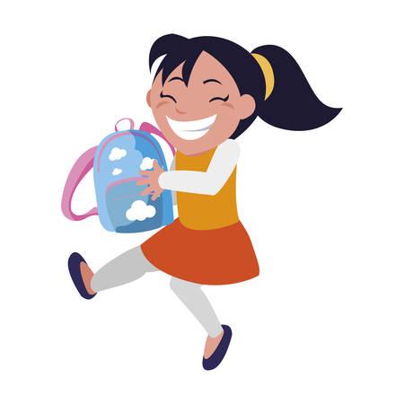 happy little schoolgirl with schoolbag character vector illustration design