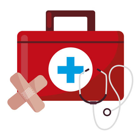 medical kit with medicine icons vector illustration design