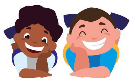 happy little interracial boys characters vector illustration design