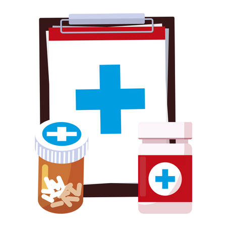 medical order checklist and medicine icons vector illustration design