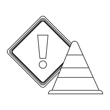 cone with signaling alert isolated icon vector illustration design Ilustração