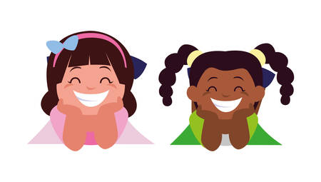 happy little interracial girls characters vector illustration design