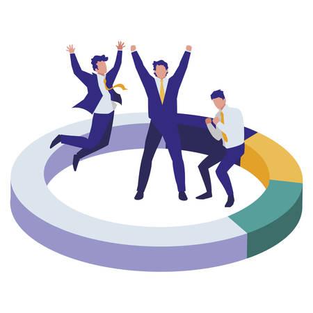 elegant businessmen celebrating in infographic ring vector illustration design
