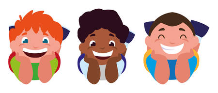 happy little interracial boys characters vector illustration design