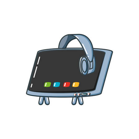 tv portable with headphone vector illustration design 일러스트