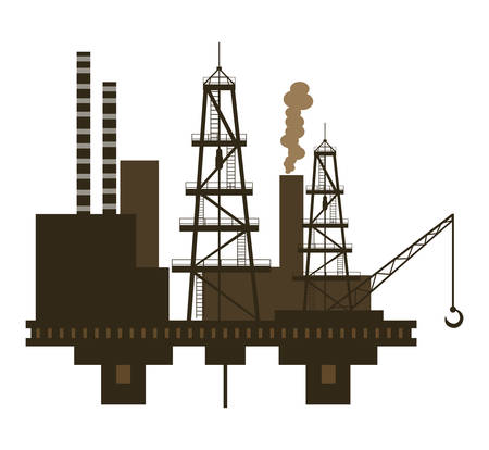 oil industry excavation tower with crane vector illustration design